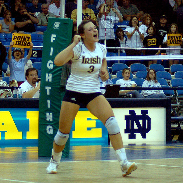 Christina Kaelin totaled 14 kills during Notre Dame's 3-0 BIG EAST Conference win at Louisville on Saturday.
