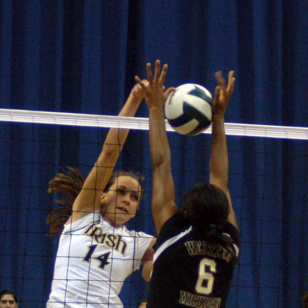 Justine Stremick had one kill and four blocks four Notre Dame during Sunday's 3-1 loss to Cincinnati.