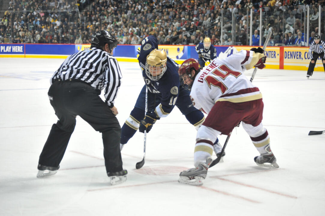 Justin White faces off against Boston College's Matt Greene in the 2008 NCAA Championship game.