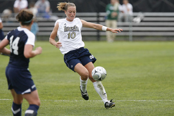 Senior All-America forward and Hermann Trophy candidate Brittany Bock scored twice in an 86-second span midway through the second half, helping No. 1 Notre Dame stay unbeaten this season with a 3-1 win over Marquette on Sunday afternoon at Alumni Field.