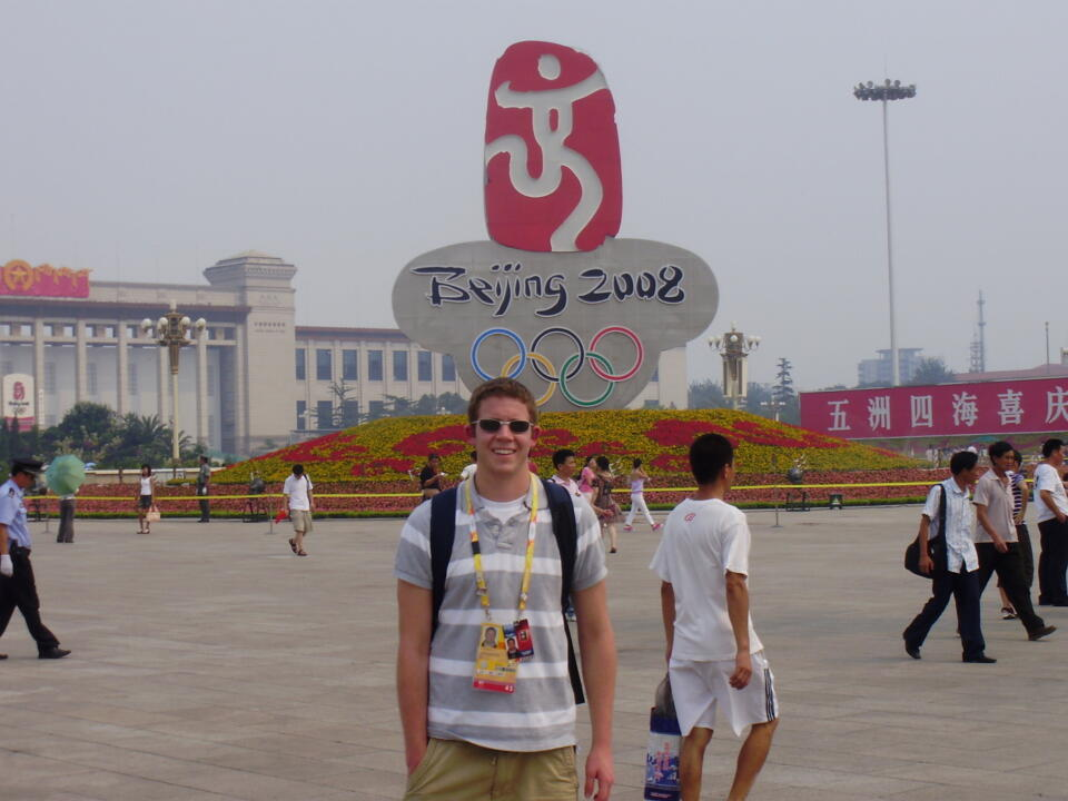 Notre Dame swimmer Jace Hopper spent the summer before his senior year working at the Beijing Olympics.