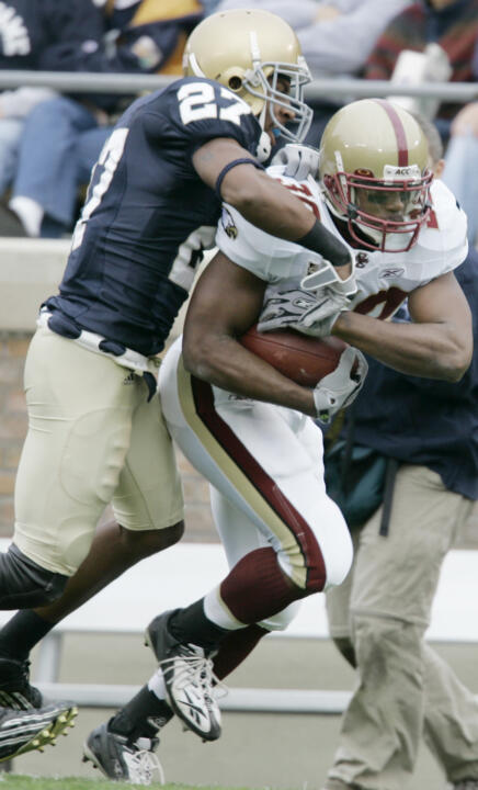 Irish safety David Bruton makes a tackle against Boston College during the 2007 game at Notre Dame Stadium