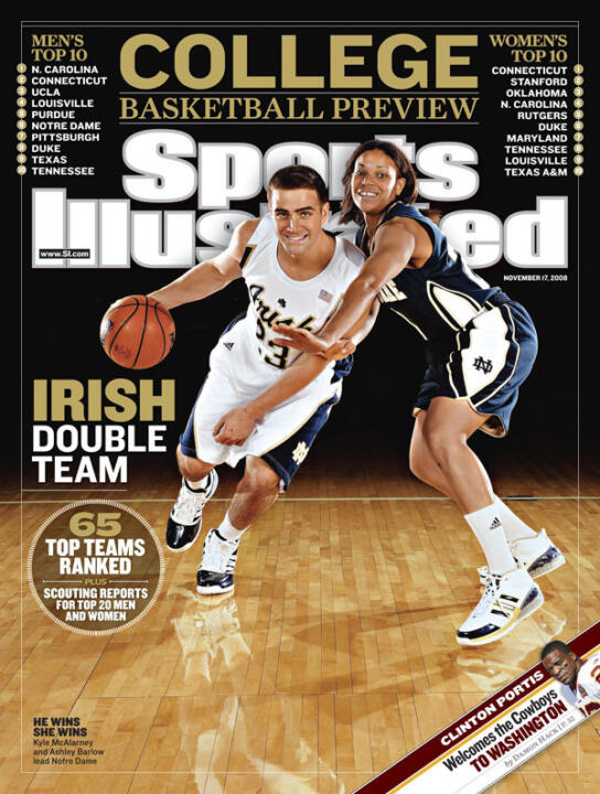 Notre Dame basketball standouts Kyle McAlarney and Ashley Barlow are featured on one of six regional covers for the 2008 <i>Sports Illustrated</i> College Basketball Preview issue, which hits newsstands Wednesday.
