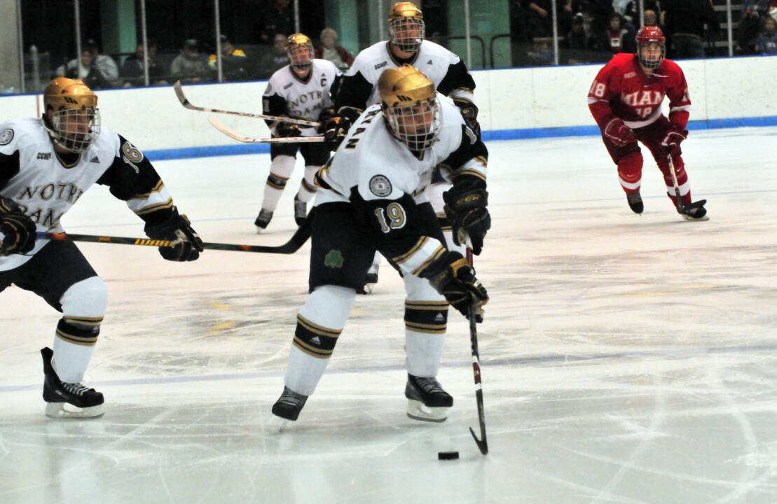 Sophomore center Ben Ryan scored his third goal of the season in Notre Dame's 3-1 win over Ferris State.