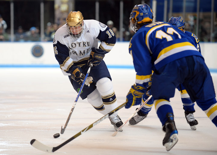 Junior Christiaan Minella scored the game-winning goal in Notre Dame's 3-2 win over Lake Superior State.