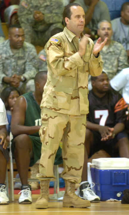 Coach Brey, alongside several other coaches, took part in Operation Hardwood in May '07 to offer support to our troops.