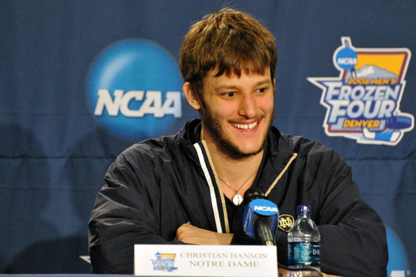 Senior center Christian Hanson, seen here at the 2008 Frozen Four press conference, has signed a two-year contract with the Toronto Maple Leafs.