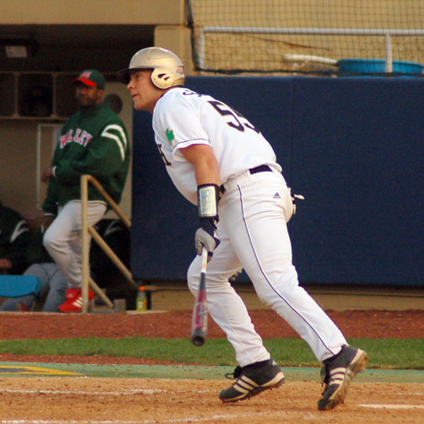 Sophomore Matt Scioscia hit his first home run of the season against Pittsburgh on Saturday.