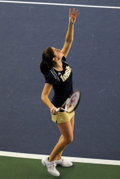 Shannon Mathews improved her singles record to 12-0 with a win versus Iowa.