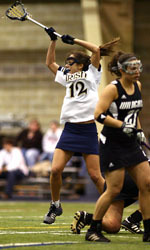 Junior Gina Scioscia had a career-high eight-point game in Notre Dame's 18-9 win over Rutgers on St. Patrick's Day.