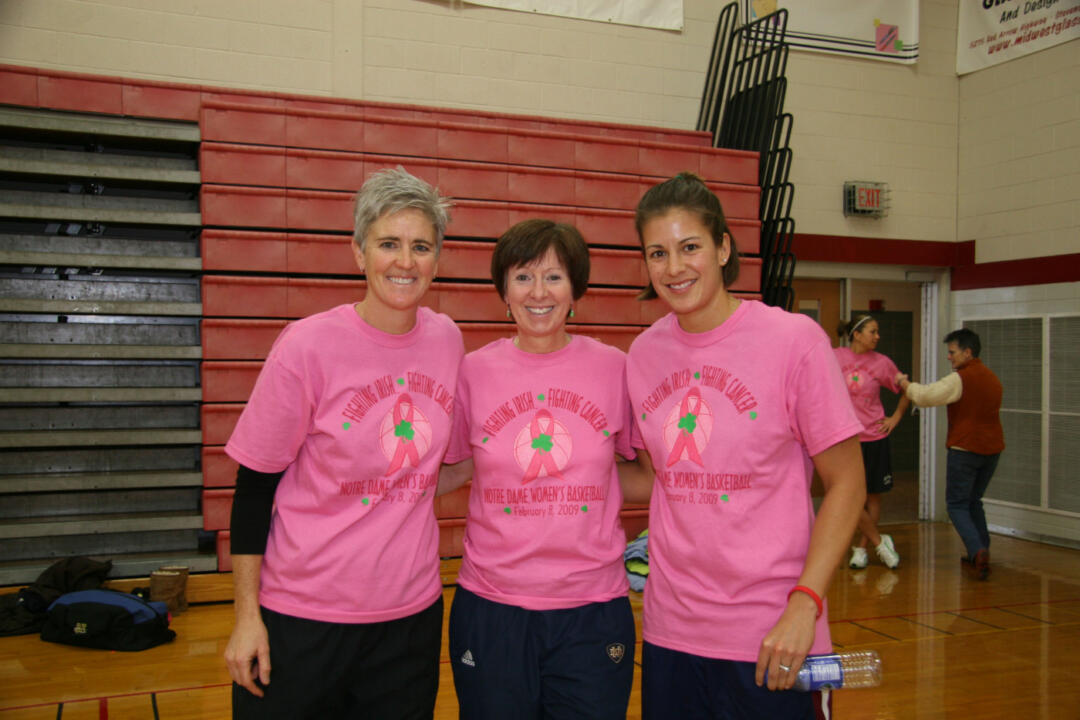 Head coach Muffet McGraw (center) and the Irish conducted a basketball clinic in January in Stevensville, Mich., as part of their efforts in support of the WBCA Pink Zone this year. The Irish raised more than $45,000 for the initiative and were named the winners of the inaugural WBCA Pink Zone Challenge, it was announced last Friday.