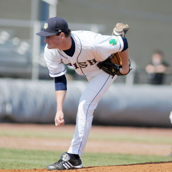 Sophomore Brian Dupra tossed a three-hit shutout to lead Notre Dame to a 4-0 victory Saturday against Villanova.