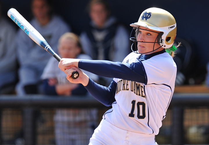 Christine Lux moved up on Notre Dame's all-time home run list with two dingers against No. 22 DePaul.