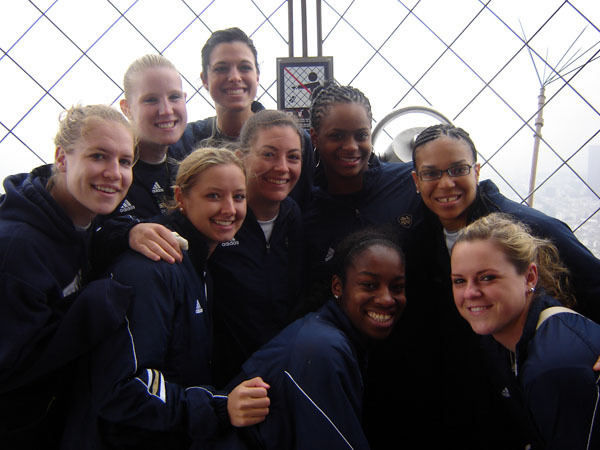 Senior guard Melissa Lechlitner (center) and the Notre Dame women's basketball team stopped in exotic Monte Carlo on Wednesday afternoon before continuing on to Lake Como, Italy, where they are preparing for their second exhibition game on Thursday night.
