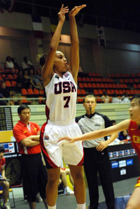 Notre Dame incoming freshman guard and United States co-captain Skylar Diggins scored 14 of her team-high 16 points in the second half, including seven in a critical third-quarter surge, as the USA U19 National Team advanced to the semifinals of the FIBA World Championships with an 88-75 win over France on Friday in Bangkok, Thailand.
