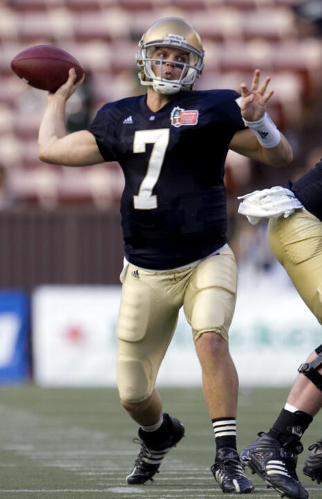 Junior quarterback Jimmy Clausen completed 21 of 34 passes for 237 yards and three touchdowns (two in the fourth quarter) as Notre Dame defeated San Diego State, 21-13 in last year's season opener at Notre Dame Stadium.