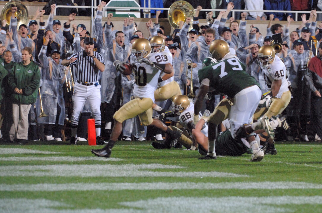 Terrail Lambert crosses the goal line to complete his 27-yard interception return and score the winning touchdown in Notre Dame's 40-37 comeback victory.