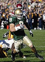 Tom Zbikowski heads for the endzone to complete his 60-yard punt return for a touchdown against USC in 2005.