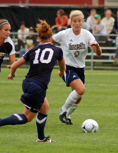 Junior defender/midfielder Lauren Fowlkes has helped Notre Dame take two of its last three matchups against North Carolina, including a 1-0 victory last September. Fowlkes missed the rematch in the 2008 NCAA final (won by UNC, 2-1) as she won a gold medal for the U.S. at the FIFA U-20 World Cup in Chile.
