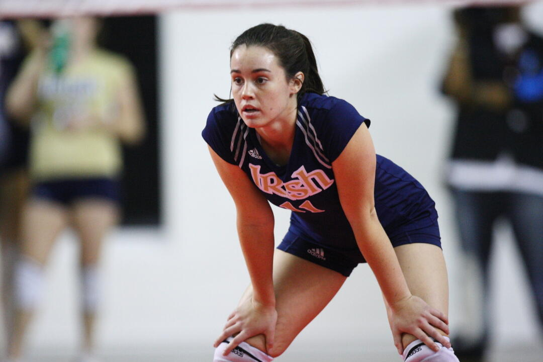 Junior libero Angela Puente came off the bench for the Irish against Tennessee and recorded 11 digs along with a kill.