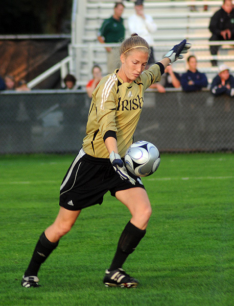 Senior goalkeeper Kelsey Lysander made four saves in Notre Dame's 2-0 loss to #3/2 Stanford on Sunday at the Santa Clara adidas Classic in Santa Clara, Calif.
