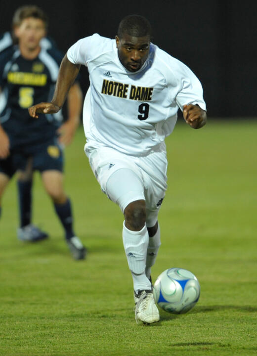 Senior forward Bright Dike scored a hat trick in the first-ever match at Alumni Stadium, netting three goals in Notre Dame's 5-0 win over Michigan on Sept. 1.