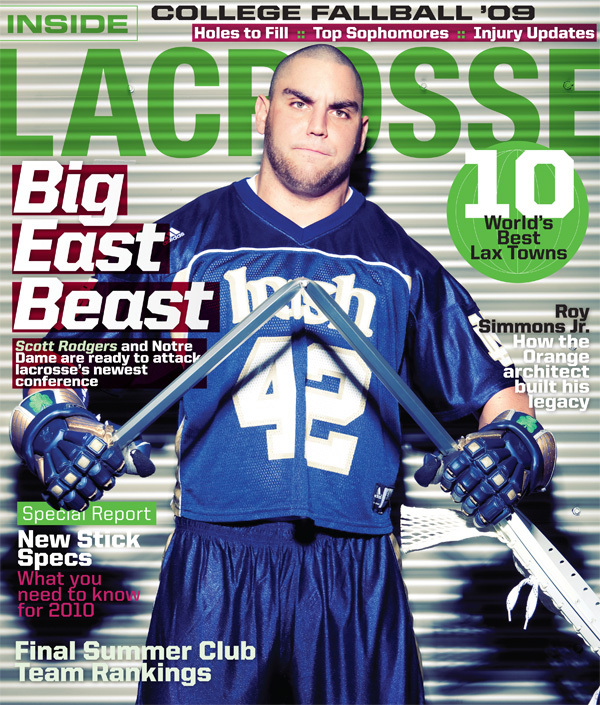 Scott Rodgers on the cover of the October issue of <i>Inside Lacrosse</i> magazine.