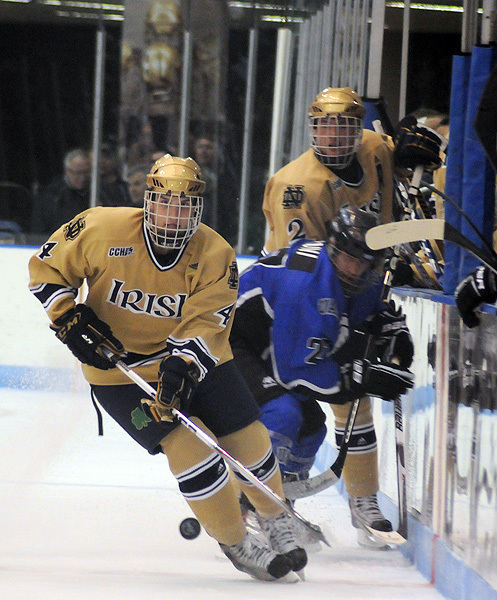 Freshman center Riley Sheahan had a goal and an assist in Notre Dame's 2-2 tie with Ohio State on Saturday night.