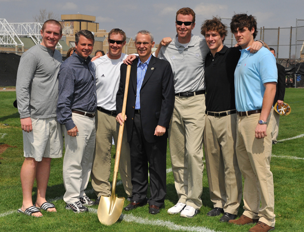 John Arlotta (in suit) and the Irish coaching staff at the stadium groundbreaking ceremony on April 18, 2008.