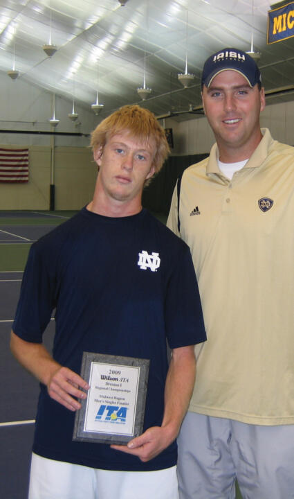 Casey Watt (pictured above with associate head coach Ryan Sachire) became the eighth Irish men's tennis player to make it to the championship match of the ITA Midwest Regional.
