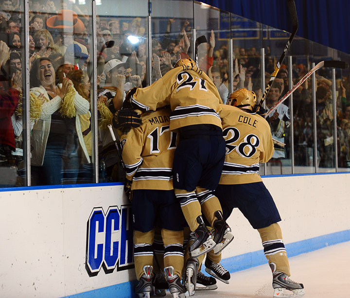 The Irish celebrate Calle Ridderwall's first-period goal against Boston College.