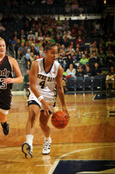 Freshman guard Skylar Diggins shared game-high scoring honors with 17 points, leading six Notre Dame players in double figures, as the fourth-ranked Irish defeated Indianapolis, 97-53 in an exhibition game on Tuesday night at the newly-remodeled Purcell Pavilion at the Joyce Center.