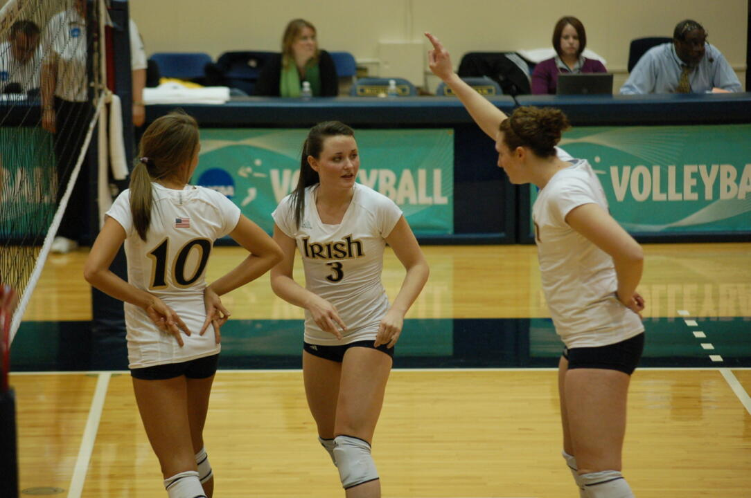 All-American Christina Kaelin had 11 kills and six digs for the Irish Friday against Ohio in a 3-2 NCAA Tournament loss.