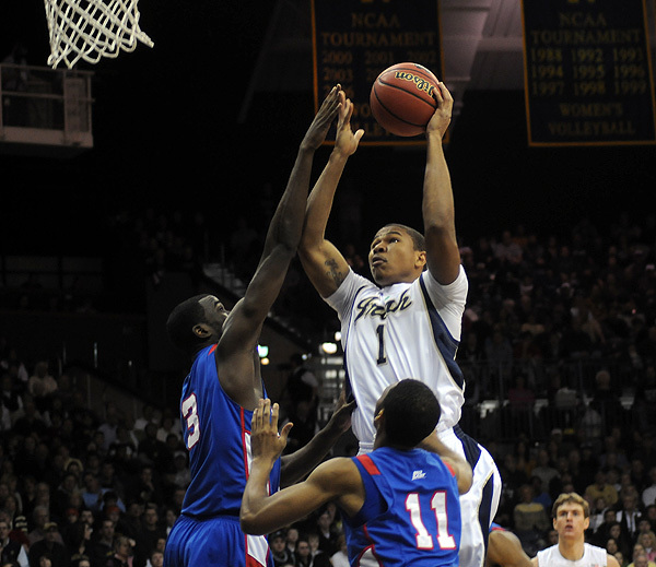 Tyrone Nash notched his first career double-double with 13 points and 10 rebounds against DePaul on Saturday.