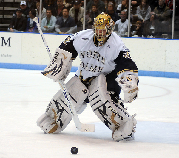 Freshman goaltender Mike Johnson becomes the first Notre Dame goaltender to be named to the CCHA all-rookie team.
