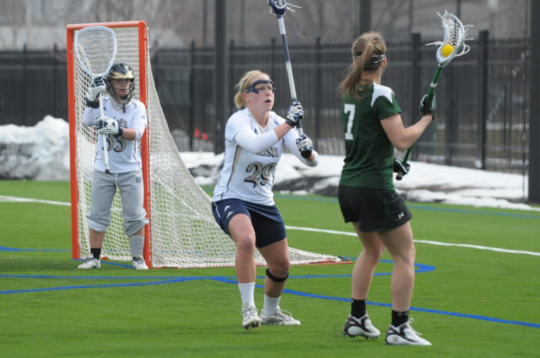 Shaylyn Blaney notched her 17th goal of the season in the 15-5 loss to Northwestern.