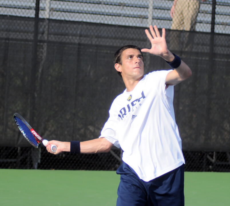 Daniel Stahl was involved in a second set tie-breaker when the match was clinched.