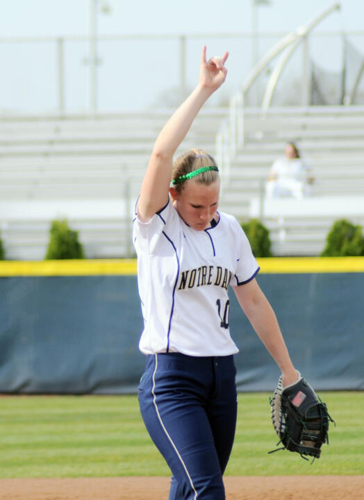 Christine Lux had two hits on Senior Day for the Irish.