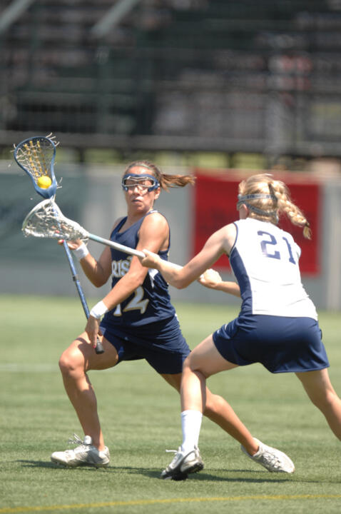 With four goals and three assists against Connecticut, Gina Scioscia became the first Notre Dame player to have 100 goals and 100 assists in her career.