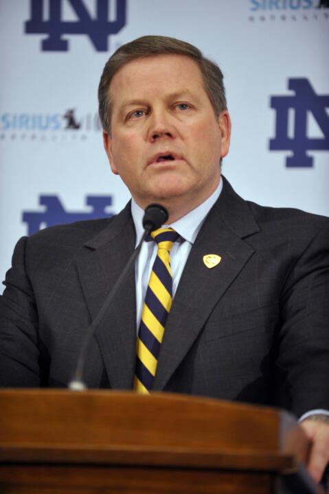 Brian Kelly was a guest speaker Wednesday at the NCAA Football Coaches Academy in Indianapolis.