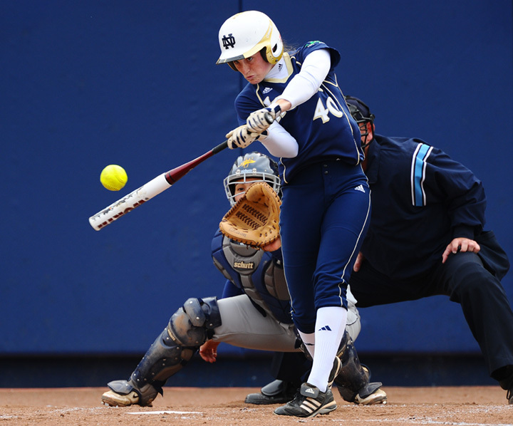 Amy Buntin stepped in and singled for the Irish in the BIG EAST Tournament meeting with Louisville on Friday at Ulmer Stadium.