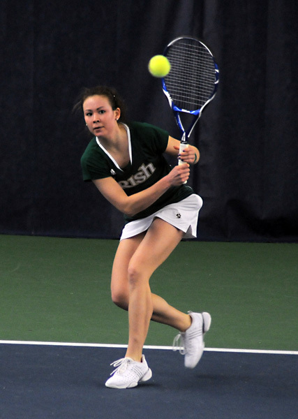 Sophomore Chrissie McGaffigan recorded a pair of singles wins as well as a doubles victory in the opening day of the Eck Tennis Classic.