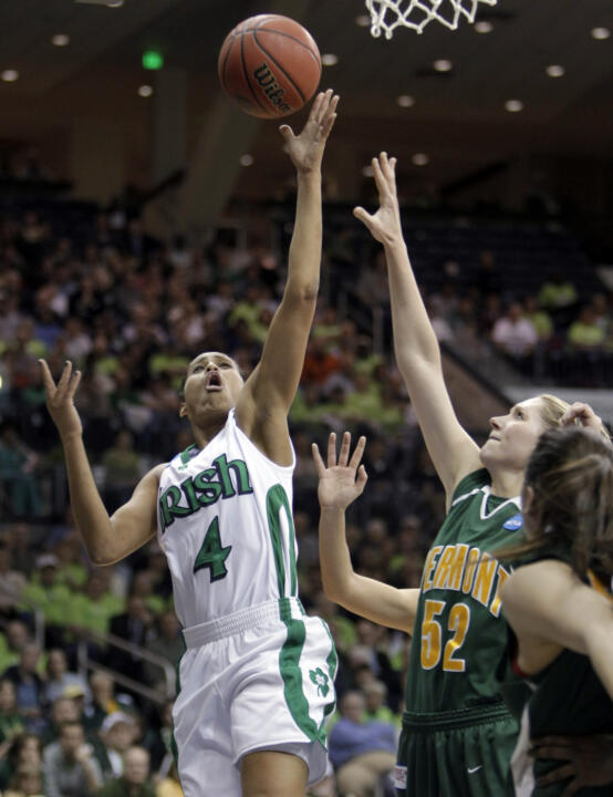 Notre Dame will be playing host to NCAA Championship early-round games for the third time in four seasons in 2012. This past March, the Fighting Irish defeated Cleveland State, 86-58, and Vermont, 84-66 (the latter behind a career-high 31 points from guard Skylar Diggins, pictured) to book their eighth trip tp the NCAA Sweet 16 in the past 14 years.