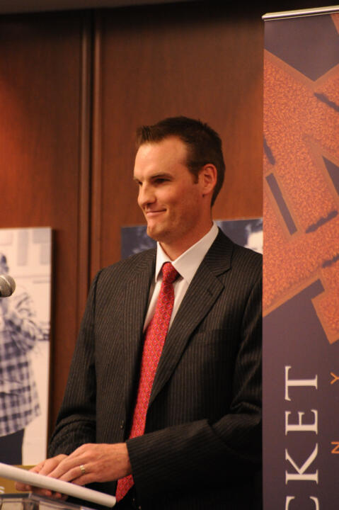 Pat Garrity '98 (basketball) served as the keynote speaker at the letter jacket ceremony.