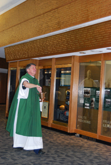 Fr. Doyle blessed the new decade of the Ring of Names in Heritage Hall on Nov. 13