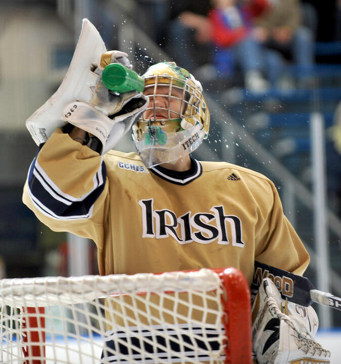 Goaltender Jordan Pearce '09 led the irish to the 2008 Frozen Four.  He finished his career as the school's all-time leader in wins, goals-against average, save percentage and shutouts.