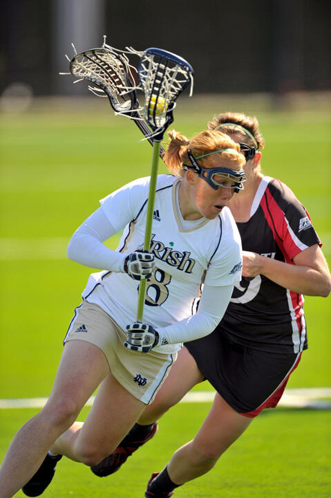 Senior midfielder Kaitlin Keena had two goals and two assists in Notre Dame's 13-12 loss at Stanford.