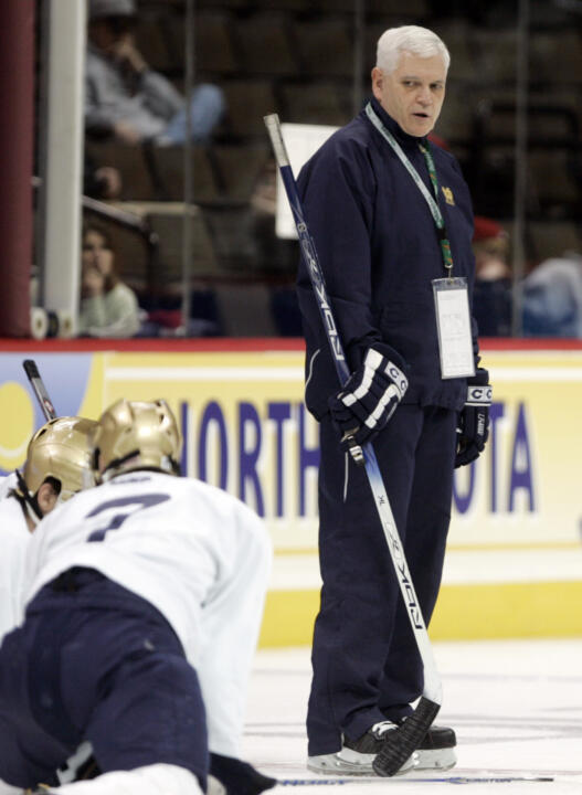 Jeff Jackson watches his team prepare for the 2008 NCAA Regionals in Colorado Springs, Colo.  The Irish advanced to the Frozen Four that season.