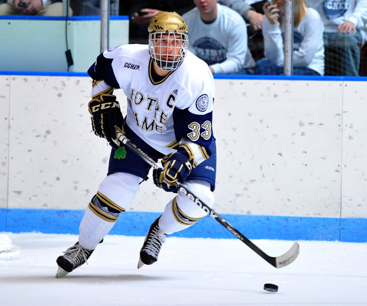 Senior captain Joe Lavin scored his sixth goal of the season and it was the game winner that helped send the Irish to the CCHA semifinals at Joe Louis Arena next weekend.