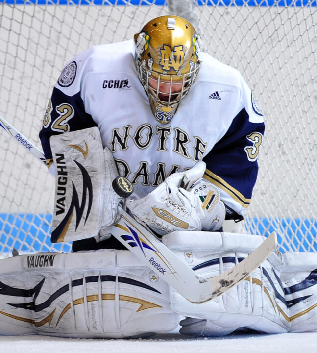 Sophomore goaltender Mike Johnson has a career-best 16 wins this season in the Notre Dame goal.